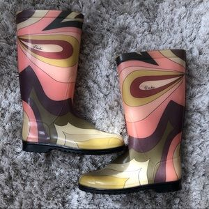 Emilio Pucci Rubber Baby Oval Violet Rain Boots